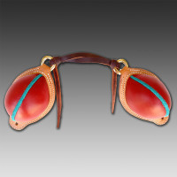 Red Smooth Leather Bucking Rolls with  Teal Rough Out Welts