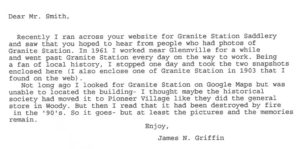 Letter to Granite Station